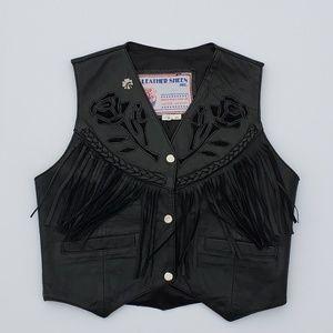 Leather Sheen INC WOMEN XS Leather Vest Biker